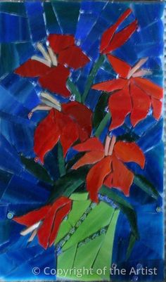 Lilies by Suzanne Steeves  ~  Maplestone Gallery  ~  Contemporary Mosaic Art