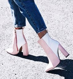Pink and White Contrast Pointy Toe Block Heel Ankle Booties for Party, Music fes. - Best Trends Pink and White Contrast Pointy Toe Block Heel Ankle Booties for Party, Music fes. Fall Booties, Ankle Booties, Knee Boots, Bootie Heels, Block Heel Ankle Boots, Calf Boots, Cute Shoes, Me Too Shoes, Trendy Swimwear