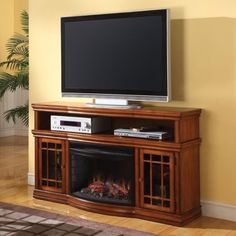 Dwyer 57' TV Stand with Electric Fireplace Finish: Burnished Pecan -- Learn more by visiting the image link. (This is an affiliate link) #FireplacesandAccessories