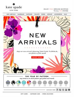 Email design / New Arrivals Kate Spade Newsletter Layout, Email Newsletter Design, Minimal Web Design, Email Marketing Design, E-mail Marketing, E-mail Design, Layout Design, Design Ideas, E Commerce