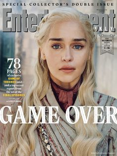Entertainment Weekly released sixteen covers in honor of the upcoming final season of Game Of Thrones. Leading the way was Emilia Clarke, who plays Daenerys Targaryen on the hit HBO series. Game Of Thrones Besetzung, Game Of Thrones Saison, Game Of Thrones Funny, Game Of Thrones Magazine, Cersei Lannister, Daenerys Targaryen, Khaleesi, Jaime Lannister, Entertainment Weekly