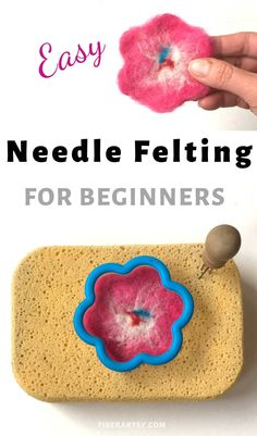Learn the basics of Needle Felting with wool. This step by step tutorial shows you how to create easy Needle Felted Fabric with Colorful Wool Roving and Cookie Cutters Needle Felting Supplies, Needle Felting Tutorials, Felt Roses, Felt Flowers, Popular Crafts, Yarn Shop, Needle Felted Animals, Felt Fabric, Nuno Felting