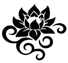 Lotus Flower With Swirls Vinyl Wall Door Art Decal Removable Sticker Oracal Kitchen Stencil Patterns, Stencil Art, Stencil Designs, Vinyl Designs, Flower Stencils, Vinyl Wall Art, Vinyl Decals, Wall Decals, Custom Decals