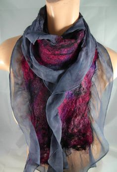 Dancing leaf farm nuno scarf, prototype for mine, silk ruffle