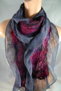 Dancing leaf farm nuno scarf, prototype for mine, silk ruffle