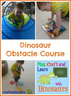 This dinosaur obstacle course is a lot of fun and a great way of getting some gross motor skills practice.