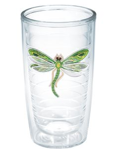 Green dragonflies are abuzz with shimmering thread and sheer layered wings in this new Tervis design.