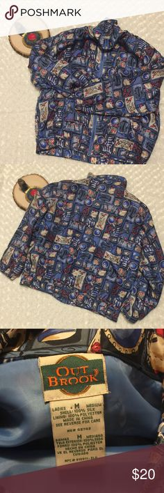 Bomber Jacket Nautical Themed Vintage Silk Size M Outbrook Ladies' Vintage Silk Bomber Jacket Women's Medium Size. Fabric: 100% silk Bright colors: blue, white, yellow with nautical  theme print:  🚢,⛵️and ⚓️(please see photo 4). Elasticized waist and shoulder pads. It's vintage but has no rips, tears or stains. Vintage Jackets & Coats