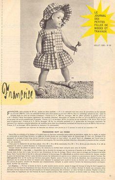 Pour voir la réalisation de la robe en vichy rouge portée par la poupée Colette de 32,5 cm cliquer ici Patron poupées Modes et Travaux juillet 1958
