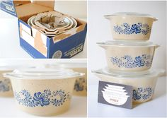 Pyrex Homestead Pattern Casserole Set in Box.  never noticed this pattern before