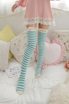 These furry adult sized thigh high stockings will have you feeling like a princess. Warm, cozy, & soft on your skin. These socks have enough stretch to fit most! Every kawaii babe needs a pair of these plush animal socks. They will instantly put you into a happy space, and keep you warm! Free Shipping Worldwide! Thigh High Socks Outfit, High Socks Outfits, Thigh High Boots Heels, Cute Outfits, Knee Socks, Heel Boots, Teen Stockings, Frilly Socks, Fluffy Socks