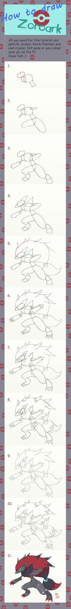How to draw Zoroark by Dunkelkatze