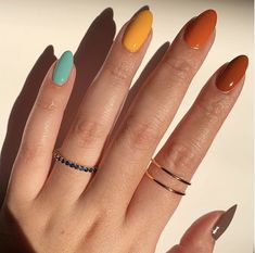 Multicolored Nails, Colorful Nail Art, Colorful Nail Designs, Thanksgiving Nails, Striped Nails, Manicure Y Pedicure, Funky Nails, Fire Nails, Minimalist Nails
