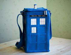 Blue Felt TARDIS Bag by krukrustudio on Etsy