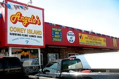 Angelo's Coney Island in Flint Michigan ... located on the corner of Franklin and Davison Roads ... home of the best coney islands and fries in the United States (along with Star-lite Coney Island, located on Davison and Center Roads in Burton, Michigan)