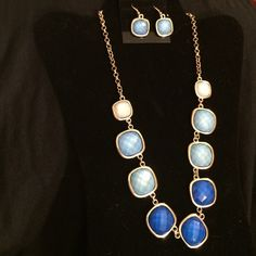 Blue ombré statement necklace with earrings Necklace with earrings Jewelry Necklaces