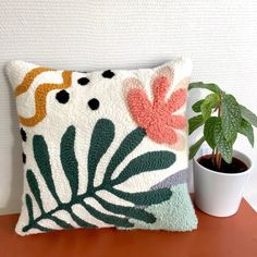 Abstract cushion - Nature in punch needle - ON COMMANDE punch needle pillow . - Abstract cushion – Nature in punch needle – ON COMMANDE punch needle pillow – made to ord - Punch Needle Patterns, Rico Design, Punch Art, Rug Hooking, Hand Embroidery, Weaving, Textiles, Etsy, Throw Pillows