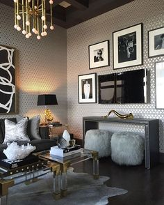 Last year we were so inspired when we toured @martynbullard home during @modernism_week ... His uber luxurious pad was covered in vintage photography, dripping with old Hollywood glamour !! The result of this inspirational trip, we are happy to report that today we have finally finished our den/tv room at our #luxecondo #atmosphereinteriordesign