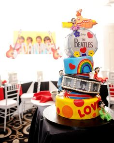 The Beatles Theme Bar Mitzvah Cake by Lasting Memories Photography - Check out all the photos - www.mazelmoments.com/blog/19983/beatles-music-theme-bar-mitzvah-ny-staten-island/