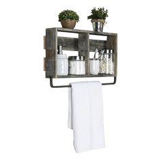 Del Hutson Designs Reclaimed Bathroom Plank Shelf