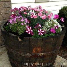 One-Hour Whiskey Barrel Planter at happyhourprojects.com