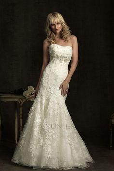 Vestido de novia Corte Sirena Reloj de Arena Capa de encaje Cola Capilla
