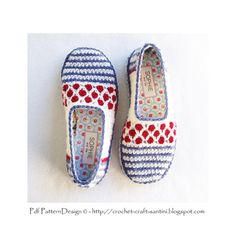 Stripe and Dot Slippers Basic Crochet Pattern por PdfPatternDesign