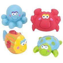 "Especially for Baby Under the Sea Bath Squirtees by Especially for Baby. $7.99. Squirtees are a classic bath toy. Set of four rubberized bath toys. Includes frog, turtle, snail, and ladybug. The Especially for Baby Under the Sea Bath Squirtees, a Babies'R'Us exclusive, is a set of four classic bath toys that will make bathing fun. Each Squirtee is made from rubber and measures approximately 3"" across. This fun set includes a sea turtle, an octopus, a fish, and a c..."