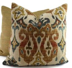 Throw Pillow Cover, Brown, Rust, Blue, Teal & Gold Chenille Ikat Throw Pillow Cover, 20x20 Pillow Cover