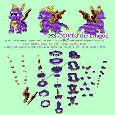 Spyro The Dragon PlayStation free 3D hama beads perler pattern