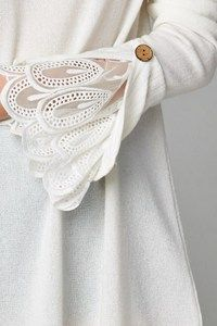 Image of Lace Bell Sleeve Sweater Dress Kurti Sleeves Design, Sleeves Designs For Dresses, Sleeve Designs, Kurta Designs, Blouse Designs, Fashion Details, Diy Fashion, Fashion Dresses, Fashion Design
