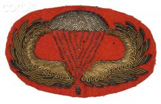 World War II, United States,Paratrooper officers embroidered jump wings insignia