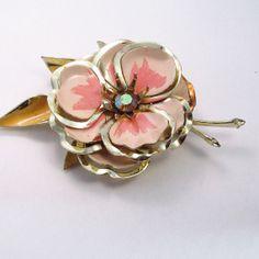 Vintage 1940's large pink enamel rhinestone layered by jewelry715, $14.00