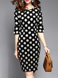 Round Neck Polka Dot Bell Sleeve Bodycon Dress – Best Of Likes Share Fancy Dress Outfits, Casual Dresses, Fashion Dresses, Fashion Styles, Bodycon Dress With Sleeves, Bodycon Dress Parties, Dress Silhouette, Colorblock Dress, Mode Style