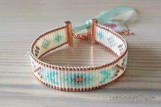 Bead loom bracelet, woven bracelet copper turquoise / aqua mint taupe white. LeafsCreations.