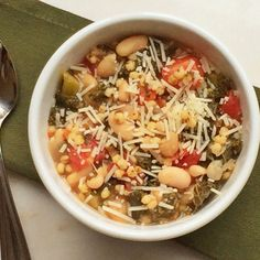 This hearty kale, white bean, and tomato sorghum soup is packed with protein and veggies.