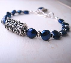 Lapis and silver bracelet.