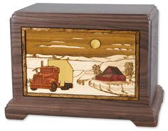 Trucker Wood Cremation Urn with Dimensional Inlay Art. #truck #trucking