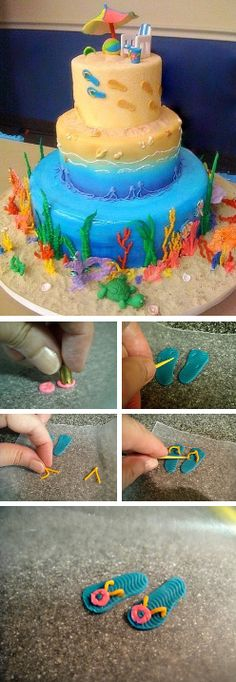 Footprints in the Sand & Flip Flops Tutorial {click link for full tutorial} http://thecakebar.tumblr.com/post/66600633486/footprints-in-the-sand-flip-flops