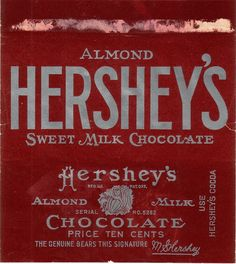 1920s Almond Hersheys Candy Wrapper