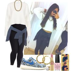 #449 by babygyal09 on Polyvore featuring Topshop, NLY Accessories, Yves Saint Laurent, OPI, NIKE and plus size clothing