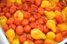 Roast cherry tomatoes and yellow pear tomatoes to use as sauce or soup ...