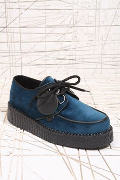 Underground Shoes Teal Velvet Creepers