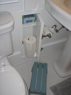 Awesome idea. No more storing the toilet paper in the linen closet! Now thats clever! Thinking out of the box lol