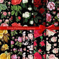 FLORAL ELEGANCE - Instant Download - Digital Paper Pack, Floral Paper, Scrapbook Paper, Decoupage Paper, Digital Collage Sheet, Rose PAper
