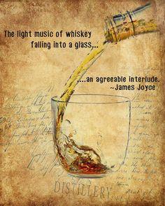 Whiskey Print - James Joyce Quote - Bourbon Scotch Poster - Whiskey Poster - Wall Art Home Decor