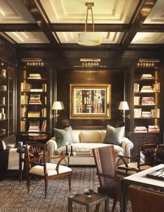 A handsome library with lacquered walls by David Kleinberg. 10 Interiors from 2016 Kips Bay Showhouse Designers, via @sarahsarna.