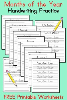 12 FREE Months of the Year Handwriting Worksheets!