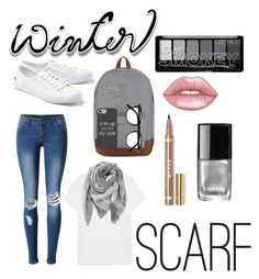 """""""School style winter scarf"""" by rgifford04 ❤ liked on Polyvore featuring WithChic, Splendid, Everest, Lacoste, Herschel Supply Co., Disney, L.K.Bennett, Lime Crime and Chanel"""