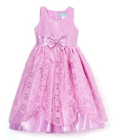Lilac Floral Bow-Accent A-Line Dress - Infant Toddler & Girls